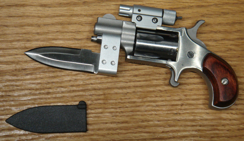 NAA Mini-Revolver with attached laser and bayonet.